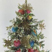 Vintage Mid Century Christmas Greeting Card Glitter Tree Gold Ornaments Hallmark