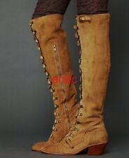 Vintage Suede Leather Lace Up Slim Leg Over Knee High Boots Womens Punk Shoes