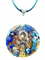 Orgone Orgonite pendant Egyptian Cross Ankh, Lapis Lazuli, 24K Gold,
