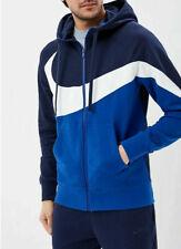 Nike Sportswear Men's French Terry Full Zip L Blue White Swoosh Hoodie Gym New