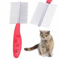 Pet Dog Cat Metal Double Row Teeth Grooming Hair Comb Brush Fur Rake Tool Gift
