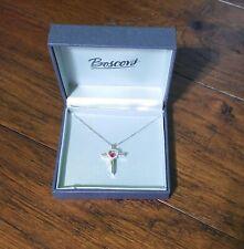 Cross Ruby & White Sapphire Dancing Cross Heart Pendant Necklace