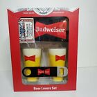 Budweiser Beer Lovers Party Set Black glass collectibles bottle opener cards