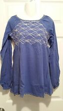 ROMAN'S LONG SLEEVE KNIT TOP ROYAL PERIWINKLE EMBROIDERY COTTON SIZE S -NEW