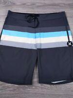 Hurley Phantom Mens Dark Gray Striped Stretch Size 32 Board Shorts Swim EUC