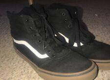 VANS  Black Canvas Sk8 Hi Lace Up High Top Skater Shoes-Mens Size 7