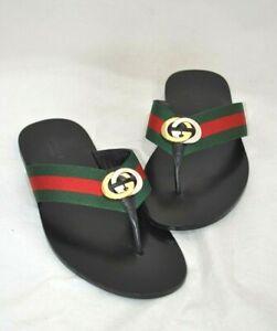 GUCCI Men's Leather Red/Green Designed Flip-Flop Size 11