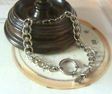 Antique Pocket Watch Chain 1890s Victorian Silver Nickel Fancy Albert