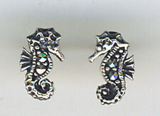 Seahorse Small Stud Earrings, 925 Sterling Silver set with marcasite Stone 10mm