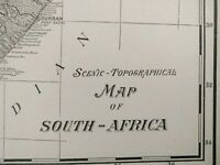"SOUTH AFRICA TOPOGRAPHICAL 1900 Vintage Atlas Map 22""x14"" ~ Old Antique Original"