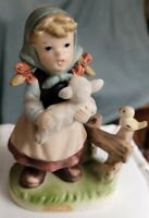 Vintage ceramic GIRL WITH LAMB FIGURINE MADE IN JAPAN