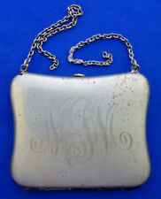 1900's Monogramed MJM Silver Coin Purse Money Clip Card Holder antique
