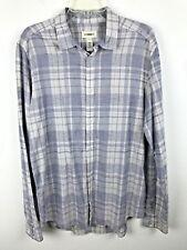 Mens Diesel Blue White Plaid Shirt Sz XL Button Front Long Sleeve Cotton Viscose