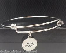 Cat Charm Bangle Bracelet Expandable Wire Stainless Steel Silver