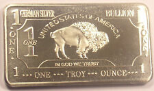 1 Troy Ounce Oz .999 Fine German Silver Buffalo Bar.. Free Shipping From Ohio