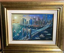 """Alexander Chen """"Brooklyn Bridge"""" - 21x27"""" Embellished Framed  Ltd Ed 147/250"""