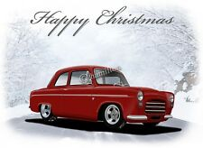 Ford Pop Popular 100E Anglia  Christmas Greetings Card