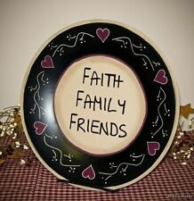 PRIMITIVE COUNTRY WOOD FAITH FAMILY FRIENDS PLATE INSPIRATIONAL HOME DECOR 2382B