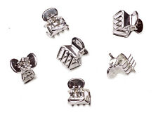 GIRL GLAM PACK OF 6  GLOSSY MINI PLASTIC SILVER HAIR CLIPS/ CLAW CLAMPS (ZX42)