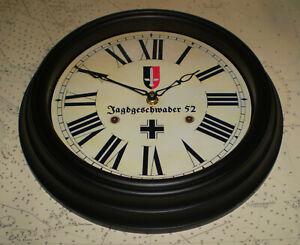 Jagdgeschwader 52 Wall Clock, WW2 Battle Britain 1940's Style Souvenir.