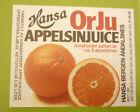 NORWAY SOFT DRINK CORDIAL LABEL, 1970s HANSA BRYGGERI BERGEN, ORJU ORANGE Sm 2