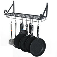 Hanging Pot Holder Pan Hanger Kitchen Storage Shelf Wall Mount Rack w/10 Hook