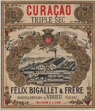 """""""CURACAO TRIPLE SEC Félix BIGALLET & Frères"""" Etiquette-chromo originale fin 1800"""