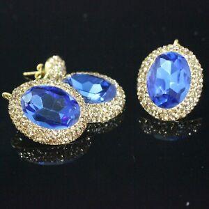 925 Sterling Silver Gemstone Gold Plated Sapphire Handmade Ladies Set