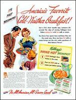 1939 Kellogg's corn flakes hot family breakfast vintage art print ad  adL46