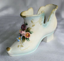 Bisque Porcelain Victorian French Heel Shoe/Planter/Vase-3-D Flowers-Pin Cushion