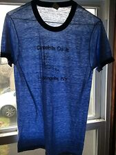 Vtg 80s Paper Thin Rayon Tri-Blend Canoeists Do It Ringer T-Shirt Heather Blue