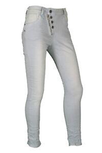 Jewelly Damen Hose Baggy Jeans Baby Blau Stretch-Denim XS S M L XL