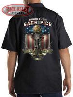 HONOR THEIR SACRIFICE Mechanics Work Shirt Biker M-3XL Support the Troops USA