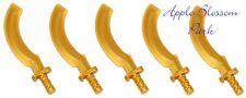 NEW Lego Lot/5 Ninjago Minifig GOLD SICKLE SWORDS - Pharoah Mummy Khopesh Weapon