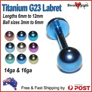 Titanium G23 Solid Labret 14ga 16ga Piercing Bar Lip Tongue Ear Body Jewellery