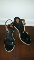 Tory Burch MARION Quilted Wedge Sandal/Shoe Black Leather, Size 8.5 - Nice !!!