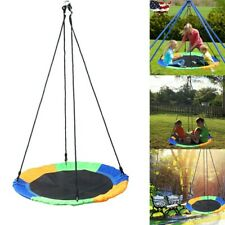 Kids Outdoor Playground Hanging Rope Nest Web Tree Swing Seat Set Yard Toys