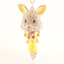 Yellow Fox Fashion Keychain Rhinestone Crystal Charm Cute Animal Gift 01234