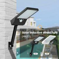 Solar PIR Motion Sensor 48LED Wall Light Outdoor Yard Street Lamp+Remote Control