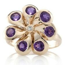 1.1ct Uruguayan Amethyst Floral Spinner Ring 9ct Rose Gold new UK size T 9K gold