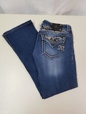 MISS ME Jeans JE5688B2N Sequins & Studs Embellished Boot Cut Distressed Size 26