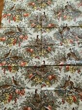 Pheasant Bird Autumn Fruit Flowers Fabric