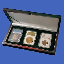Display Box 3 Coin NGC/PCGS/Premier/Lil Bear Certified Slab Wood Mahogany Finish