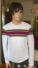 mens new 60's/70's vintage retro mod style white t shirt with rainbow stripes