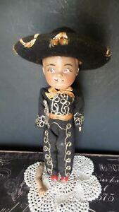 UNUSUAL! Antique BOY SPANISH Mystery Doll all ORIGINAL FELT Clothes and HAT GUN