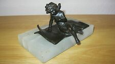 SOLID BRONZE STATUETTE ON MARBLE BASE *** CUPID CHERUP ANGEL ***