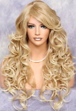 Full Heat OK Curly Long Wig Blonde mix Bangs Layered Hair Piece 27-613 NWT WBSO