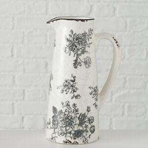 Mosaic Crackle Black Floral Kitchen Milk Storage Serving Pitcher Jug Flower Vase