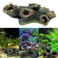 Aquarium 12Cm Log Tree Hide Hiding Cave Fish Tank Decoration Ornament Hg YK