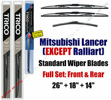 Wipers 3pk Front Rear 2010+ Mitsubishi Lancer EXCEPT RALLIART  30260/180/16140